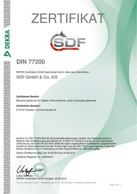 Zertifikat DIN 77200 deutsch