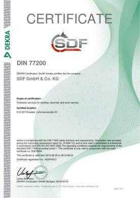Zertifikat DIN 77200 englisch