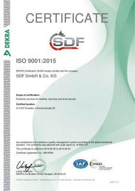Zertifikat ISO 9001 englisch